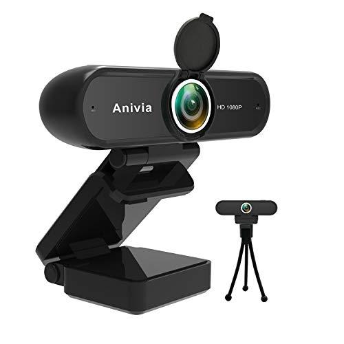 Anivia Full HD Webcam 1080p USB-Webcam mit Doppelmikrofon Autofokus 2MP-Kamera HDR-Webcam Breitbild-Videoanruf und -Aufzeichnung für Laptop-PC-Skype-Stream-Spiele