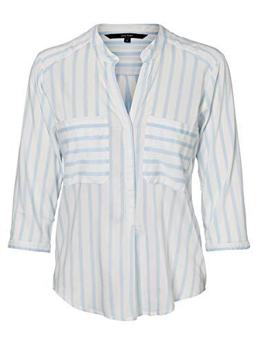 Vero Moda Camisa Mujer S Azul 10168581 VMERIKA Stripe 3/4 Shirt E10 Noos Snow White/Cashmere B