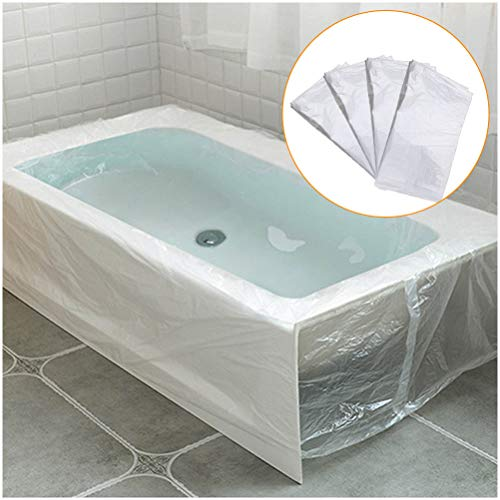 Odowalker 10 Pieces Disposable Bathtub Cover Liner Film Large Thickened 102 × 47inch (260 × 120cm) Bath Crock Plastic Bag for Traveling Salon Household Holiday Inn and Hotel Bath Tub Wooden Barrel