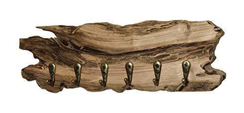 Wood & Wishes - Rustikaler Eiche-Holz Schlüsselaufhänger, Schlüsselhalter, Schlüsselbrett mit 6 Haken auf 30cm; gefertigt in Handarbeit; Treibholzoptik; Landhausstil; dekoratives Unikat
