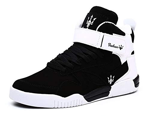 KUXIE Shoes Men's High Top Fashion Sneakers Outdoor Casual Sports Shoes Training Leather Shoes Mens Flats (9.5, M729-Black)