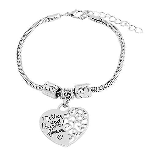 Armband - hanger - armband - familie - hart - en voor altijd - vrouw - moeder en dochter voor altijd - zilveren kleur - moederdag mother and daughter forever