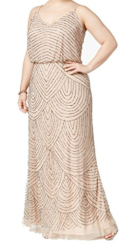 Adrianna Papell Women's Plus-Size Long Blouson Beaded Dress, Taupe/Pink, 16