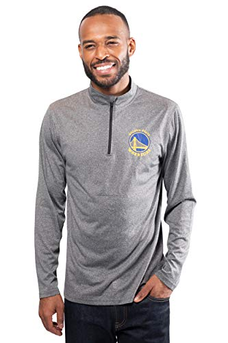 Ultra Game NBA Golden State Warriors Mens Quarter Zip Pullover Long Sleeve Tee, Heather Charcoal19, X-Large