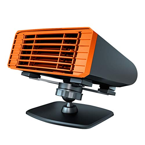 ZYM Tragbare 12-V-150-W-Autoheizung, 2-In-1-Lüfter Für Schnelles Heizen Und Kühlen Für Das Abtauen Von Windschutzscheiben Und Das Warmhalten des Steckers Im Zigarettenanzünder Geräuscharm,Orange