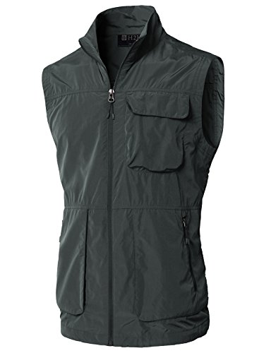 H2H Men's Featherweight Vest - 14 Pockets - Travel Clothing Darkgray US M/Asia L (KMOV0157)