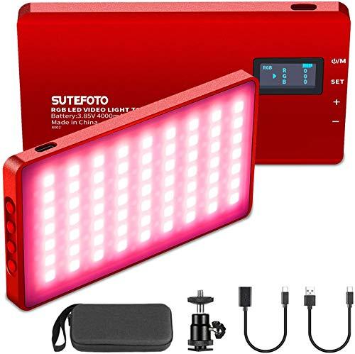 Lámpara de video RGB LED 2500K ~ 8500K 0-1530 °, iluminación de cámara a todo color, 0-100% regulable, batería incorporada de 4000 mAh con soporte de zapata ajustable de 360 °, rojo