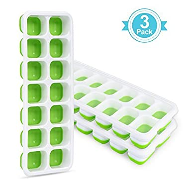 Adoric Life 3 Pack Easy Release Silicone Ice Cube Trays with Spill-Resistant Lids, 14 Shaped Cubes Each with Cover, Flexible Rubber Ice Molds for Whisky, Cocktail, Bourbon, LFGB Certified & BPA Free