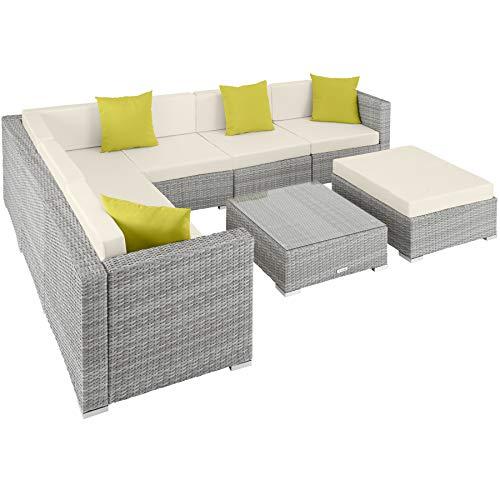 TecTake 800892 Aluminium Polyrattan Lounge Set, Sitzgruppe mit Tisch mit Glasplatte, für Garten und Terrasse, inkl. Kissen und Klemmen (Hellgrau | Nr. 403754)