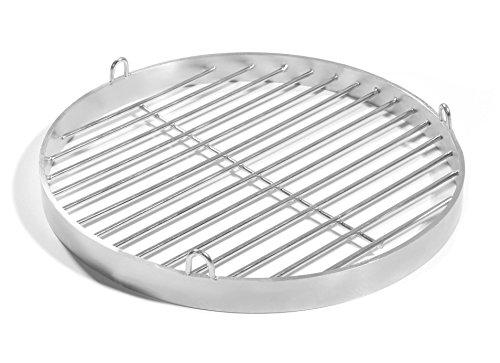 Grille de 80 cm - Avec œillets de fixation - En acier inoxydable V2A - Pivotante - Pour barbecue - Ronde