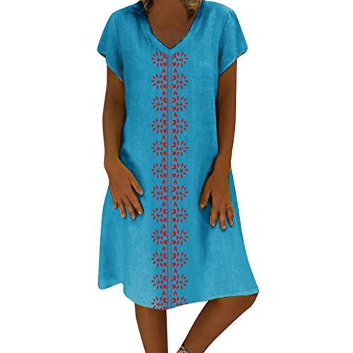 VEMOW Vestido de Las Mujeres del Estilo del Verano del Vestido Femenino de Las Mujeres del algodón Ocasional más el Vestido de Las señoras del tamaño