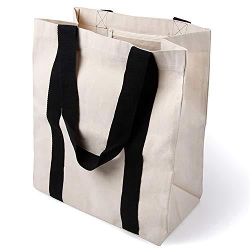 Elegante bolsa de transporte espaciosa, bolsa de algodón, bolsa de la compra, bolso con gran base y asa larga, 1 pieza