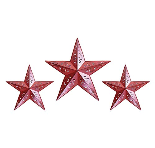 GRILA RED LACY METAL BARN STAR SET - 2X 12' 1X 18' country...