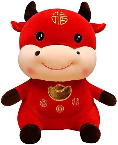 MISS KANG Decoración de Año Nuevo Chino Red Bull 2021 Año del Buey Festival Decoración Mascota Auspicious Felpa Ganado Felpa Animal Qingchunw (Tamaño: 55 cm/21.66')
