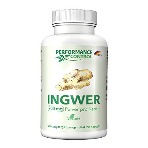 Performance Control® INGWER Kapseln hochdosiert -Extra hohe Dosierung -700 mg Ingwer/Kapsel -Ideal zum Abnehmen -Vegan -Für 3 Monate -Made in Germany