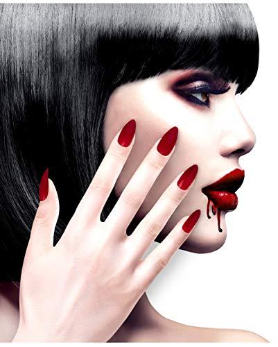 Horror-Shop 12 Stiletto Fingernägel Rot / Bordeaux selbstklebend als Kostümzubehör
