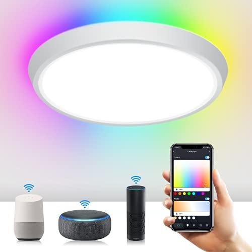 Plafoniera LED Soffitto, Plafoniera rgb Alexa e Google Home, WIFI Bluetooth + Controllo Vocale e Google Home, RGB + CW 2700-6500k Plafoniera LED, 16 Milioni Di Colori, Funzione Di Temporizzazione