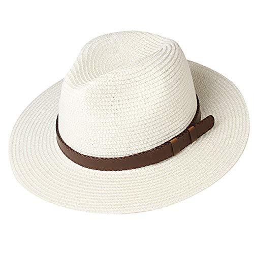 N\A Sombreros de verano para hombre y mujer Panamá Sombreros de viaje playa Sombreros de sol de ala ancha Fedora Jazz Sombreros M CreamWhite3
