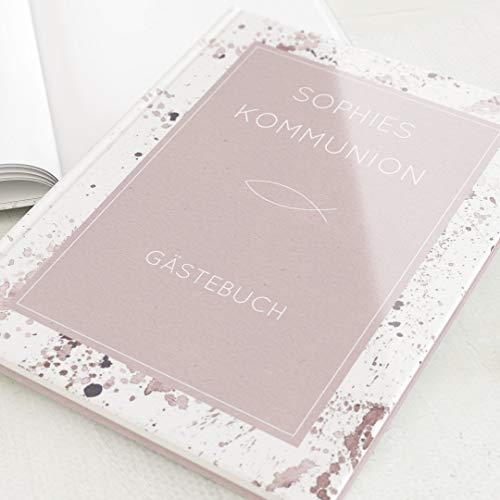 sendmoments Kommunion Gästebuch, Impressiv, personalisiert mit Ihrem Wunschtext, hochwertige...