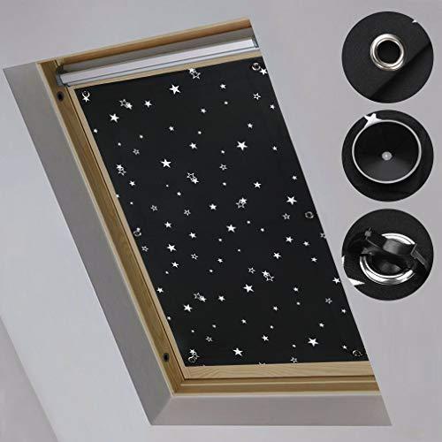 KINLO Estor para ventana de techo, 96 x 115 cm, sin agujeros, opaco, con 7 ventosas, térmico, protección contra el calor, protección UV, color negro