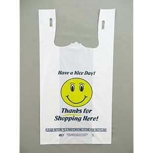 "Plastic t-shirt Bags- HEAVY DUTY 'HAPPY FACE' PRINT 11.5""x6.5""x21.5"" 18 MIC 500/BAGS"