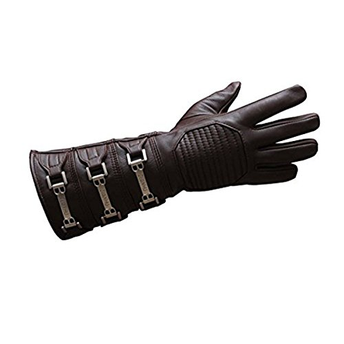 Anakin Skywalker Gauntlet Costume Real Leather Brown Right Glove, Skywalker Right Hand - Brown Glove, Large
