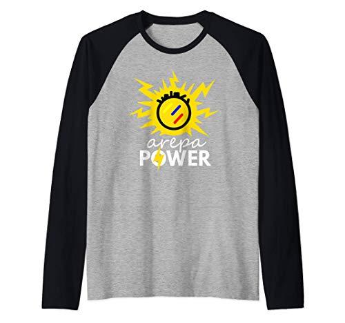 Arepa Power Arepa Eléctrica Venezolana Divertida Camiseta Manga Raglan