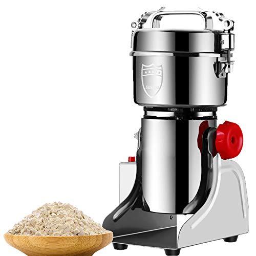 DFGENLY Elektrische Getreidemühlen, Multifunktion Kommerziell Grinder Mahlen für Müsli Getreide Kaffee Gewürze 304 Edelstahl Zuhause Timing Schleif Powder Maschine