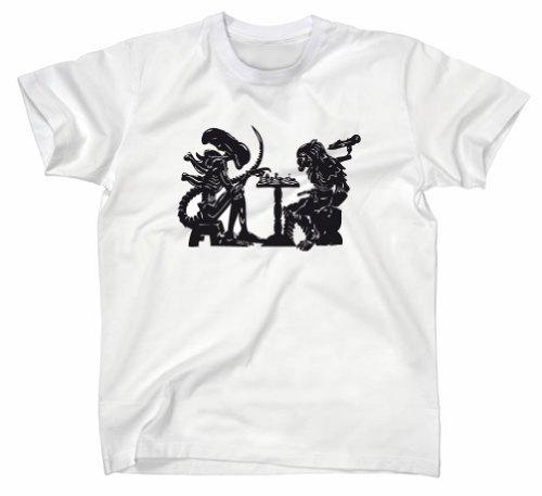 Alien vs Predator AvP Chess Fun T-Shirt, Schach, Weiss, S