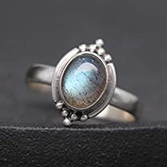 Luna Azure Sterling Silver Moonstone Engraved Vintage Adjustable Ring (JJ01-JZ0013A) #4