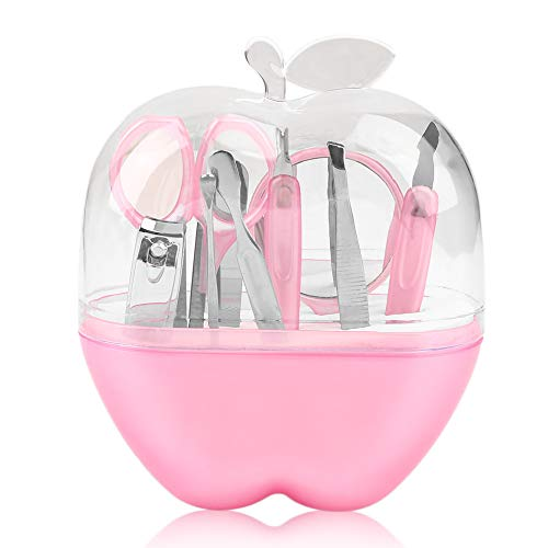 Pommes forme 9pcs en acier inoxydable ensemble de manucure ciseaux à ongles outil de maquillage cosmétique pour produit de soin des ongles de voyage - Rose
