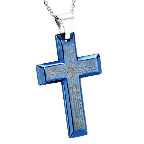 ANAZOZ Schmuck Edelstahl Kreuz Lord's Prayer Blau Anhänger Halskette FürHerren,Größe:4.1x6CM
