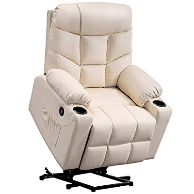 Mcombo Electric Power Lift Recliner Chair Sofa for Elderly, 3 Positions, 2 Side Pockets and Cup Holders, USB Ports, Faux Leather 7288
