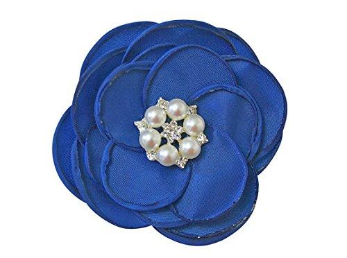 MIA White Satin Flower Rhinestone Pearl Hair Clip Wedding Hair Clip Bridal Hair Clip Bridesmaid Hair Clip First Communion Hairpiece Girls Hair Clip Royal Blue