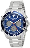 Akribos Multifunction High Tech Diver Smartwatch - Diver-Style Watch with Health Stats Tracking - 3 Digital Subdials on Stainless Steel Bracelet- AK1094 (Blue Dial Silver Band)