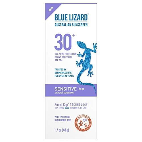 Blue Lizard Sensitive Face Mineral Sunscreen – No Chemical Actives – SPF 30+ UVA/UVB Protection, 1.7 oz