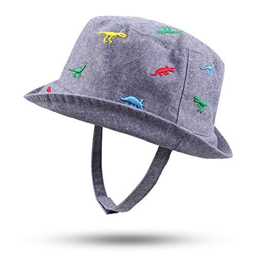 Pesaat Sombrero de Sol de algodón para bebé Ancho para niños y niñas al Aire Libre Playa niño Cubo Primavera Verano 0-2 años, Dinosaurio Denim, 6-12 Meses