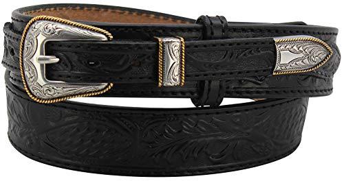 """Men's Black Stitched Oak Leaf Embossed Western Ranger Leather Belt - 1.5"""" Wide, 40"""