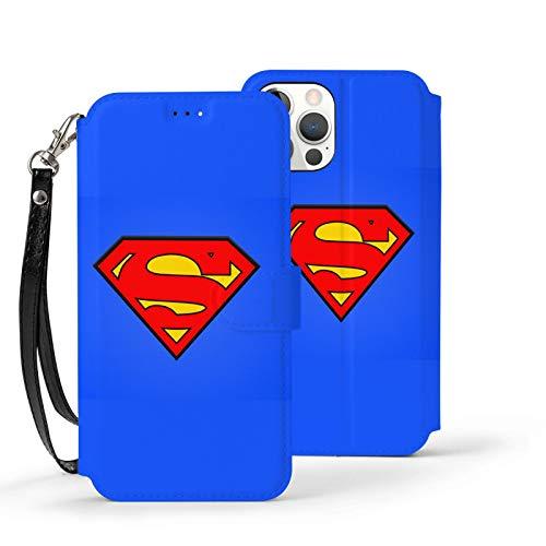 VOROY Supermen A-P-P-L-E - Funda de piel para iPhone 12 (con tarjetero, tarjetero), color azul