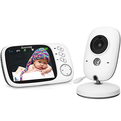"""Searong Vigilabebés Inalambrico Bebé Monitor con cámara 3.2"""" LCD visión nocturna Wireless Baby Monitor, sensor de temperatura"""