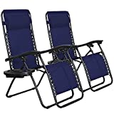 SONGMICS Zero Gravity Chairs, Set of 2 Outdoor Lounge Chairs, Patio Chaise Lounges, Reclining Comfortable Ergonomic Foldable and Lockable, with Headrest and Cup Holder,IndigoUGCB001I01