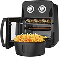 KitchenUp 12 QT Air Fryer Oven Combo, 10-in-1 Auto-Stirring Hot Cooker with Visualized Window, Dishwasher Safe Frying Accessories for Roasting, Reheating and Dehydrating (A Mitt and Recipe Included)