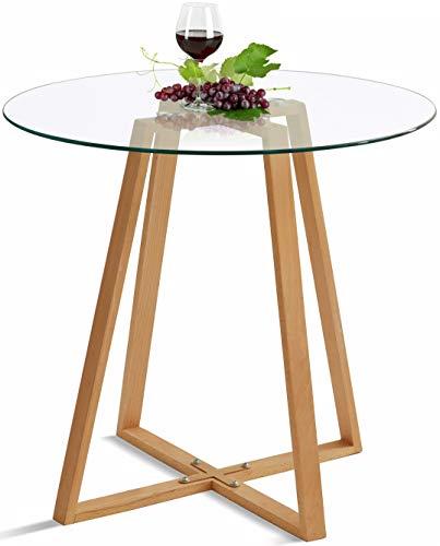 DORAFAIR Esstisch Rund 80cm Glas Küchentisch Wohnzimmer Tisch, Skandinavisch Beistelltisch, 80 * 80 * 75, Transparent