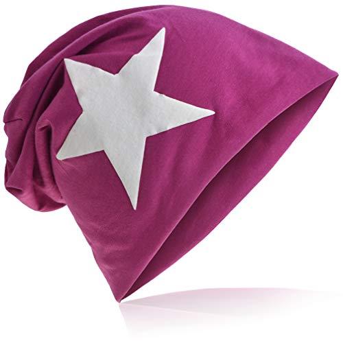 WeissStern Jersey Slouch Beanie Long Mütze mit Weiß Stern Style Unisex Unifarbe Herren Damen Trend Orchidee
