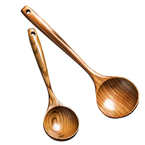 2 Pcs Wooden Spoon Ladle Utensils Spoons-14 inch Long Kitchen Cooking Spoon & 11 inch Best Serving Soup Spoon Set