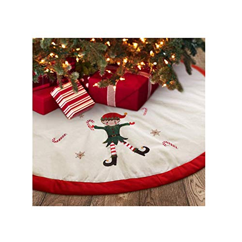 Christmas Tree Skirt Large Embroidered elf pad Wooden Tree Collar Rustic Indoor Christmas Decorations red and White