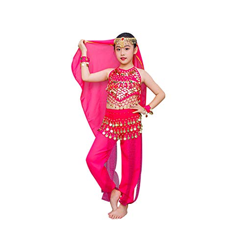 ZXSZX 7 Pcs Bollywood India Niños Niña Disfraz Danza del Vientre Trajes Danza Oriental Niña Egipto Ropa De Danza del Vientre Conjunto De Disfraces De India,Rosered-160CM