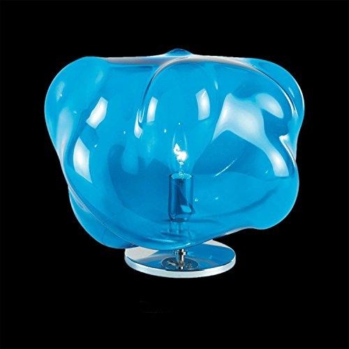 Magia Murano Glas Nachttischleuchte Kleine Tischleuchte in Chrom blau | Handgefertigt in Italien | Tischlampe Modern Design Dimmbar | Lampe G9