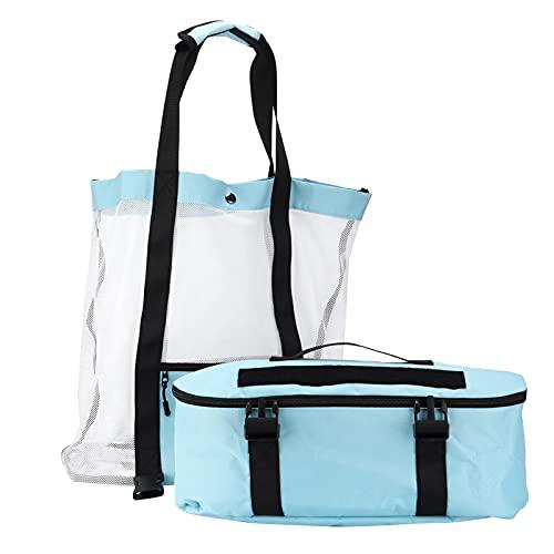 ROMACK Bolsa de Playa Multifuncional, fácil de Limpiar Bolsa de Playa Grande y Simple Bolsa de Almacenamiento Dos en uno con Parche y botón de liberación rápida para Viajes a la Playa(Azul)