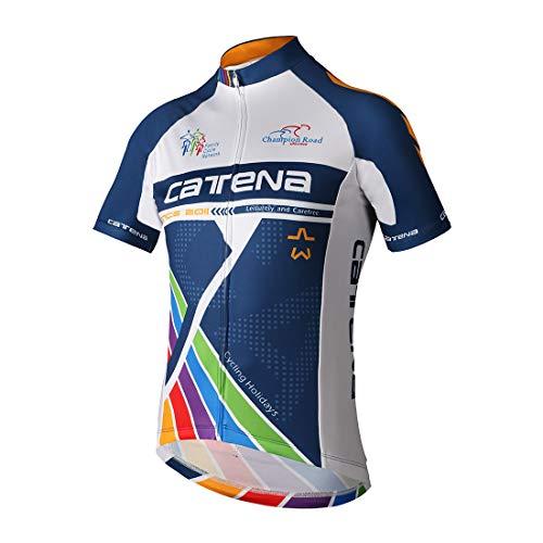 CATENA Men's Cycling Jersey Short Sleeve Shirt Running Top Moisture Wicking Workout Sports T-Shirt Black (Blue-17, XS)